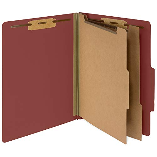 10 Red Classification Folders - 2 Divider - 2 Inch Tyvek Expansions - Durable 2 Prongs Designed to Organize Standard Medical Files, Law Client Files, Office Reports - Letter Size, Red, 10 Pack