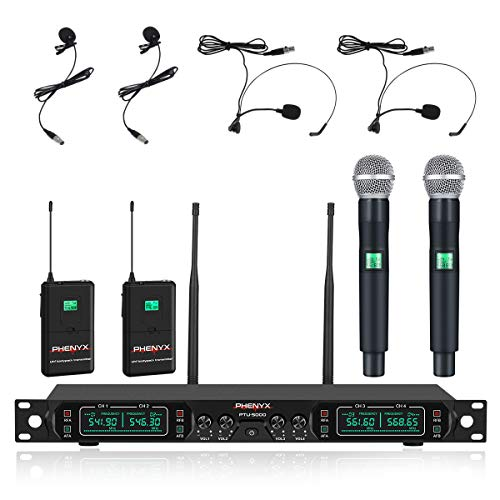 Phenyx Pro 4-Channel UHF Wireless Microphone System, Cordless Mic Set with...