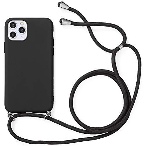 Yoedge Funda con Cuerda para Samsung Galaxy A7 2018-6.0', Funda de Silicona Antideslizante Suave TPU para Teléfono Móvil con Colgante Ajustable Collar Correa para el Cuello Cadena Cuerda, Negro
