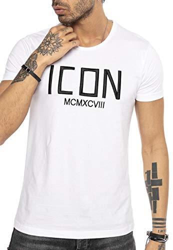 Herren T-Shirt gesticktes Icon Logo Baumwolle Weiß L