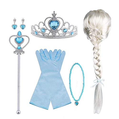 Vicloon Princesse Dress Up Accessoires,Elsa Cadeau Set pour Costume d'Elsa -Gants/Diadème/Baguette Magique/Bague/Boucles d'oreilles/Collier Cosplay Carnaval 3-8 Ans (Bleu 8pcs)