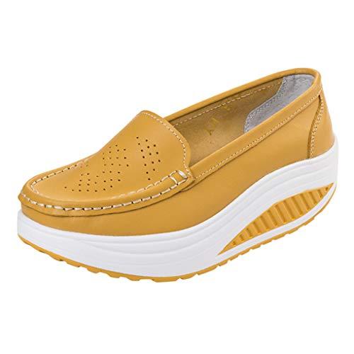 Plateau Loafers Für Damen/Dorical Frauen Keilabsatz Mokassins Slipper Damenschuhe Leichte Slip On Plateau mit Keilabsatz Sportliche Freizeitschuhe Walkingschuhe Ausverkauf(Gelb,35 EU)
