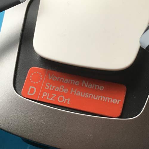 Roboterwerk Matrícula de vehículo para drones – Placa para nombre y/o con e-ID exigido a partir de 2021, 30 x 10 mm, aluminio anodizado rojo