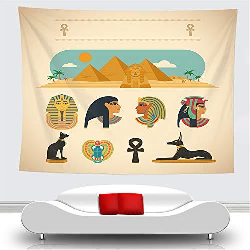 OTIAN Tapiz Macrame Antiguo Egipto Tapiz Antiguo Cultura Impreso Hippie Tapices Egipcios Decoración del Hogar Tapiz Vintage