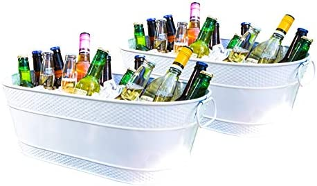 BREKX Colt White Hammered Galvanized Beverage Tubs Rust Resistant and Leak Proof Ice and Drink product image