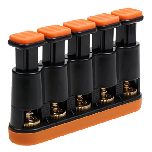 Gitarren Hand Finger Exerciser Grip Trainer Fingertrainer Handtrainer Instrument für Erwachasene Orange & Schwarz
