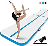 Murtisol 27ft Inflatable Gymnastics Training Mats Tumbling Mats 4 Inch Thickness for Home Use/Training/Cheerleading/Yoga/Water Fun with Electric Pump Blue