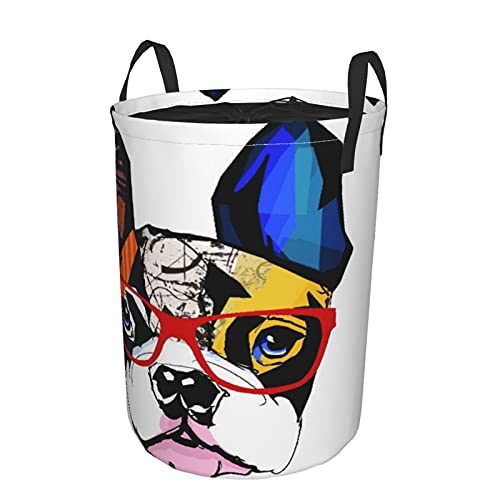 Storage Basket,French Bulldog Portrait With Hipster Glasses Abstract Modern Colorful Ears And Eyes,Collapsible Large Laundry Hamper with Handles 21.6'X16.5'
