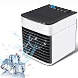 3 in 1 Portable Air Conditioner Mini Cooler Usb Quiet Desktop Air Circulator Fan Humidifier Misting Purifier for Home Dorm Bedroom Room Car Office (A)