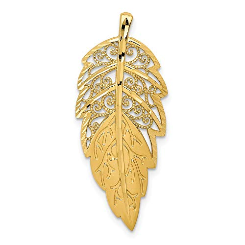 14k Yellow Gold Leaf Necklace Chain Slide Pendant Charm Outdoor Nature Fine Jewelry For Women Gifts For Her