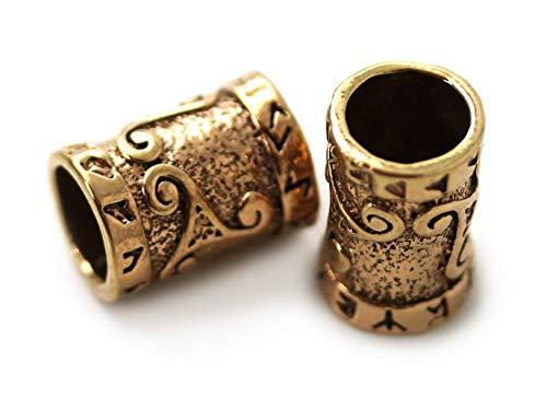 Bronze Norse Viking Celtic Beard Beads Rings, Dwarven Dreadlock Pirate Medieval Hair Beads, Pagan Jewelry