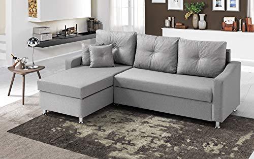 Dafne Italian Design - Sofá cama esquinero de 2 plazas con chaise longue a la izquierda, tejido oyem gris (231 x 154 x 90 cm)