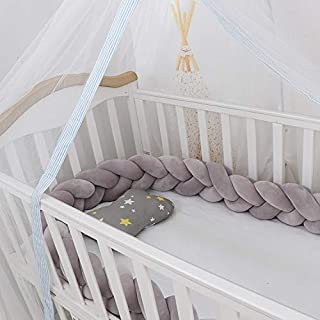 Lion Paw Crib Bed Bumper Pillow Cushion 78.7in Crib Sides Protector Infant Cot Rails Newborn Gift Knotted Braided Plush Nursery Cradle Decor (Gray, Covering Half of Standard Bed)