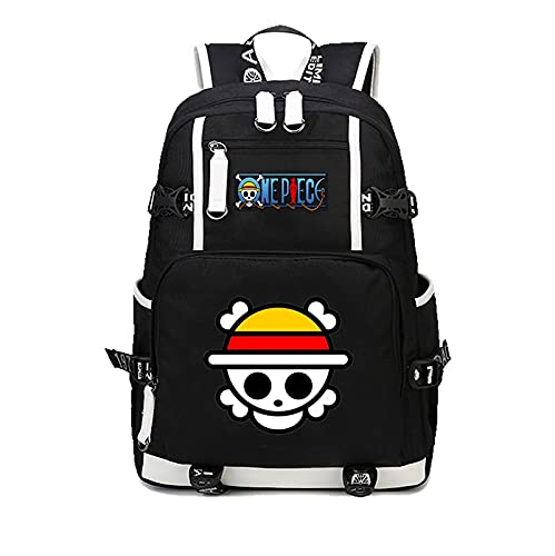One Piece Mochila japonesa de anime de una pieza Luffy, mochila informal de dibujos animados para adolescentes, hombres y mujeres, mochilas escolares para estudiantes, mochila para mujer y hombre