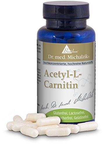 Acetyl L-Carnitin hochdosiert - 100 Kapseln hochdosiert - 500mg Acetyl-L-Carnitin je Kapsel - nach Dr. med. Michalzik - ohne Zusatzstoffe - von BIOTIKON®