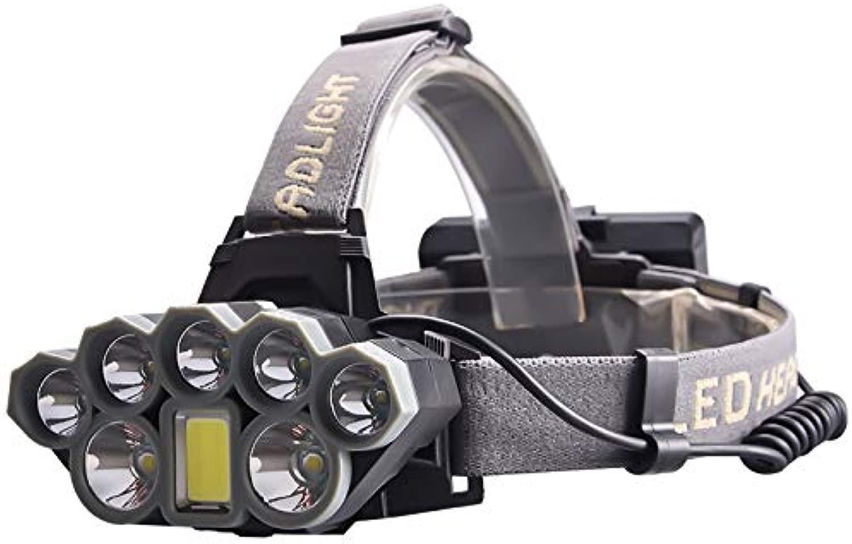 8LED Lampe Scheinwerfer USB wiederaufladbare Scheinwerfer Blendung Zoom Angeln Lampe Scheinwerfer Taschenlampe schwarz