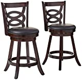 Coaster CO- Swivel Counter Height Stool, Black and Espresso
