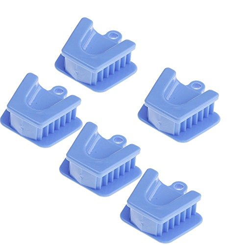 Superdental 5pcs Dental Mouth Prop Bite Block Cushion Opener Retractor Medium Size (Blue)