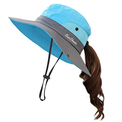 Muryobao Women Ponytail Summer Sun Hat Wide Brim UV Hats Floppy Bucket Cap for Safari Beach Fishing Gardening Sky Blue