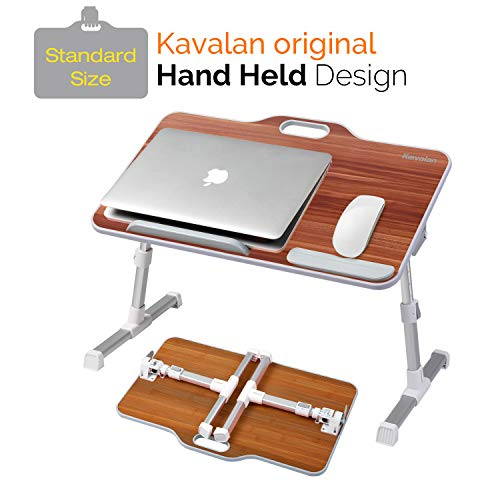 Laptop Desk Stand, Kavalan Portable Laptop Bed Tray Table with Top Handle, Height & Angle Adjustable Sit and Stand Desk, Foldable Bed Desk for Breakfast Reading on Sofa Couch Floor –American Cherry