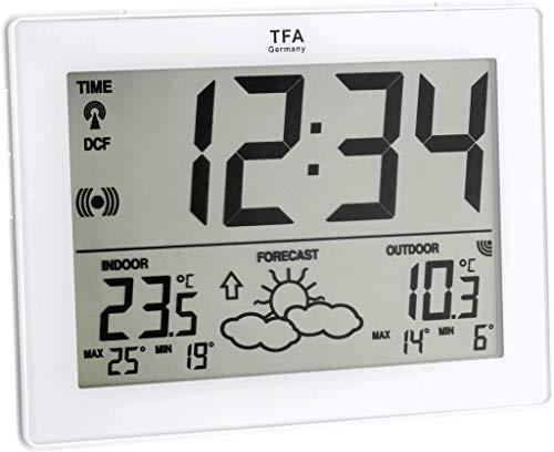 TFA Dostmann Metro Funk-Wetterstation, Wettervorhersage, Funkuhranzeige, Höchst- und Tiefstwerte, Wettersymbole, Innentemperatur, Außentemperatur, weiß