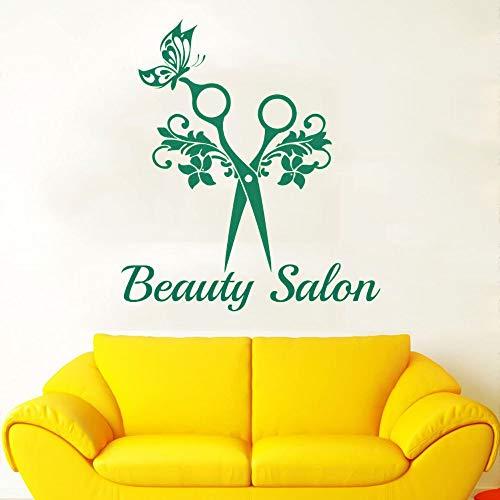 yaofale PVC-Pegatinas de Pared-Tijeras Elegantes Logotipo de salón de Belleza Calcomanía de Pared Etiqueta de salón de Belleza Decoración extraíble