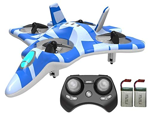 ZEGO Upgraded F22 RC Drones for Kids and Beginner, Easy to Fly and Hover, RC Helicopter Quadcopter Fighter Jet with 360° Flip, LED Light Indication,4 Propellers and 2 Batteries.Gift Toys for Kids_Blue