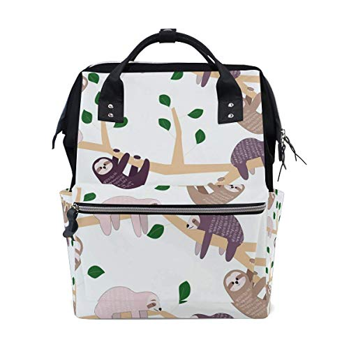 FHTDH Retro Floral Leaves Pattern Large Capacity Diaper Bags Fashion Mummy Bag Tote Bags Large Capacity Multi-Function Backpack for Travel