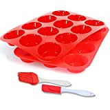 Silicone Muffin Pan,12-Cup Muffin Trays