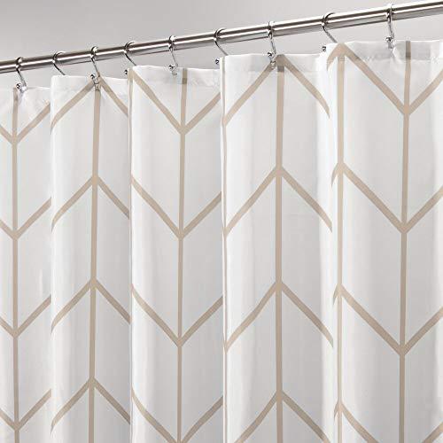 mDesign Cortina de ducha – Cortinas de baño de atractivo diseño con protección ante salpicaduras – Accesorio para ducha y bañera de cuidado fácil – beige/blanco
