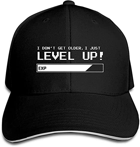 XTTGGD No envejezco I Level Up Gorra de béisbol Hombres Mujeres Clásico Deportes Casual Sombrero para el Sol Negro (RB0284