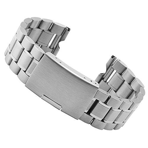 Aohro 22 mm Acero Inoxidable Correa de Reloj Band para Motorola Moto 360 SmartWatch Reemplazo Pulsera Venda Watchband con Instalación de herramientas - ( Solido metal - plata )