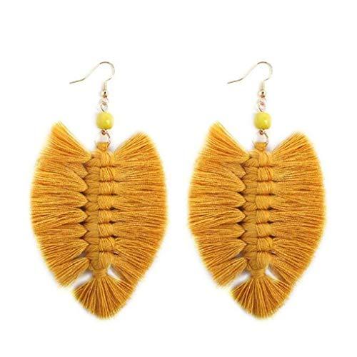 CAVIVI - Pendientes largos de algodón para mujer, diseño de borla, color amarillo