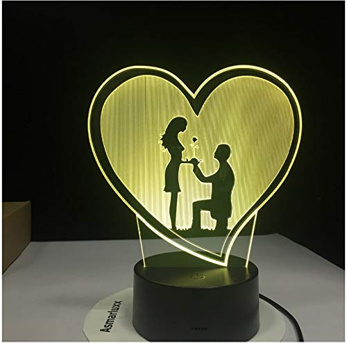 Propose Wedding 3D LED Night Lights 7 Colors Change Hologram Atmosphere Novelty Lamp for Home Decoration Visual Illusion Gift Without Controller