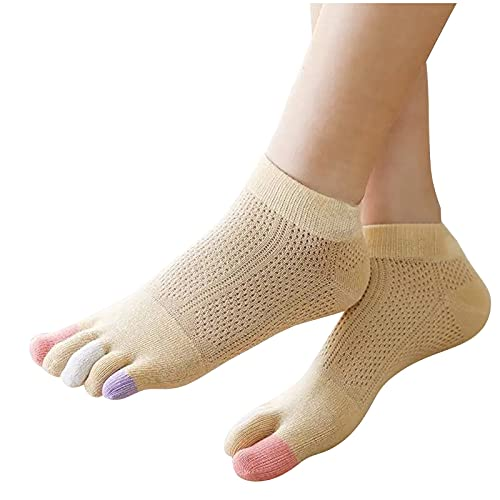 Damen Modische Zehensocken Fünf Zehen Sneaker Socken Sportsocken Anti-Rutsch Anti-Reibungs-Mesh Kompressionssocken atmungsaktive Bequem Socken