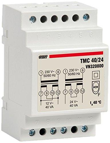 Vemer VN320800 Trasformatore TMC 40/24 da Barra DIN per Servizio Continuo 230V/12-24V, Grigio Chiaro