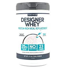 Contains 1 - 1.72 Pound Canister of Designer Whey Protein Meal Powder by Designer Protein, Vanilla Bean Flavor. Packaging May Vary 25g of 100% whey protein per serving with all the essential amino acids 190 calories per meal, only 2g naturally occurr...