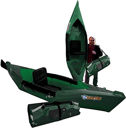 Tucktec Advanced 2020 Model 10 Foot Foldable Kayak Folding Canoe, Portable Lightweight, Boat Fits in Your Car No Roof Rack Needed, Stronger Than Inflatable, for Kids or Adult (Green)