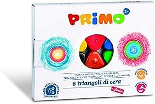 PRIMO 074TRI6 Wachsmaler, Wachstriangeln, Wachsmalstifte, Wachsmalkreide Extra Stark, 6 Farben, bunt