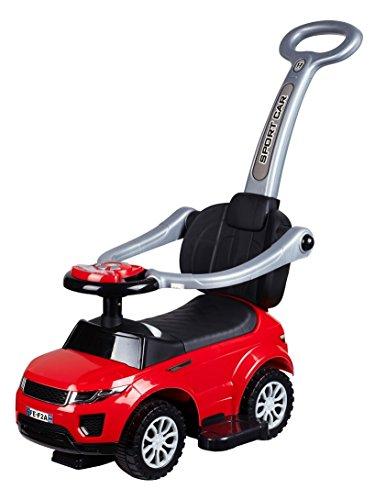 Babyrutscher rot mit Schiebestange und Musik, Rutscherauto, Babyfahrzeug Rutscher