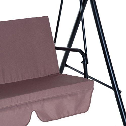 Outsunny Hollywoodschaukel Gartenschaukel Schaukelbank 3-Sitzer mit Dach Stahl Braun 172x110x152cm - 7