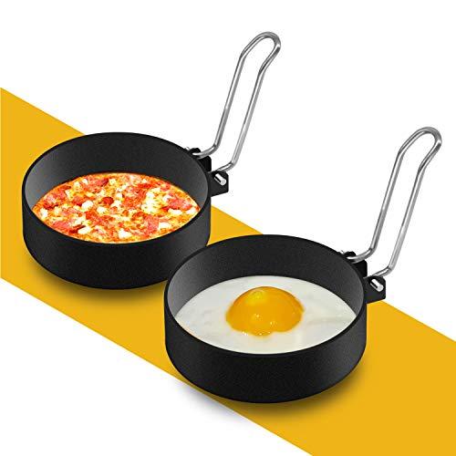 YIBO Stainless Steel Egg Rings Set,Round Non Stick Mold Metal Egg Cooker Rings For Cooking Tool Egg Maker Molds For Fried Egg McMuffin,Sandwiches,Egg Maker (2 Pack)