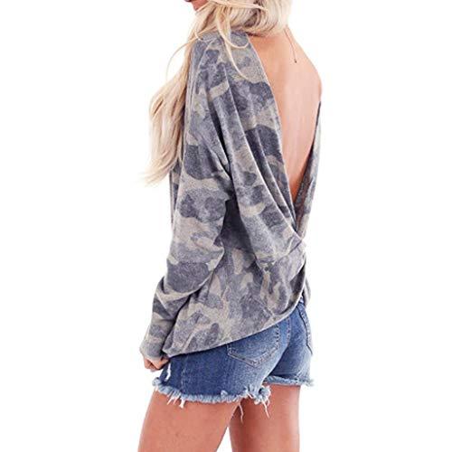 Daysing Damen Pullover Sweatshirt Camouflage Fashion Sweatshirt Rückenfreier Pullover Sexy Fashion Big Rückenfreier Pullover Cotton Comfort
