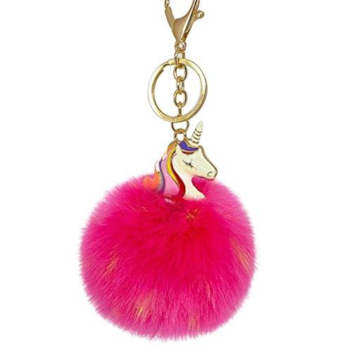 bismarckbeer Einhorn Anhänger flauschig Kunstfell Pompon Schlüssel Kette Schlüssel Ring Tasche Aufhängen Decor, 9#, Einheitsgröße