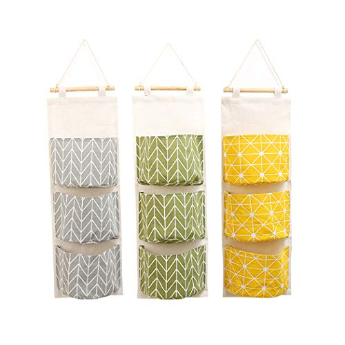 3Pcs Wall Hanging Storage Bag Creatiee Waterproof Over The Door Closet Organizer Linen Farbric Hanging Pocket Organizer with 3 Remote-Sized Width Pockets for Bedroom Bathroom