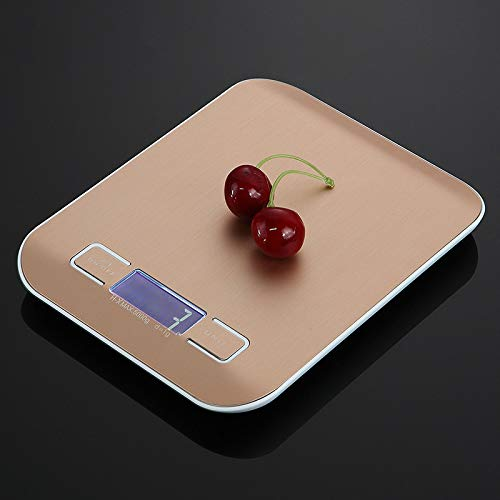 5kg/1g 10kg/1g Digitaal LCD Elektronische Keukenweegschaal, Mini Roestvrij Stalen weegschalen voor Keuken Bakken Koken 5KG/1G Rosegoud