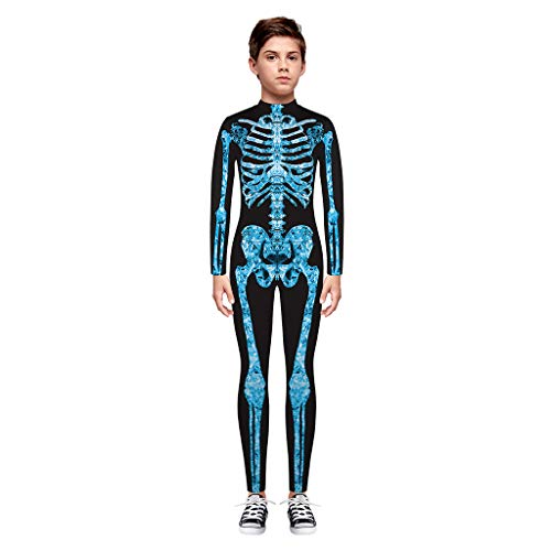 TTLOVE Teen Kinder Mädchen & Jungen Strampler,Halloween Cartoon Skull Print Bodys Overall Kleidung,Cosplay Kostüm,7T-14T(Blau,M)