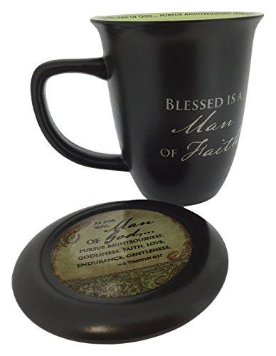 "Abbey Gift (Abbey & CA Gift) Man of Faith Mug & Coaster Set, 4 by 4.38"", Black"