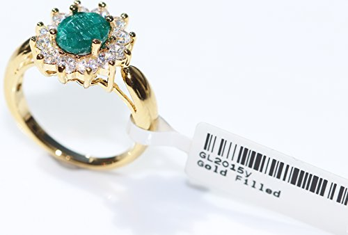 Ah! Jewellery® 1.45ct Genuine PRECIOUS EMERALD Ring. Brilliant Round Simulated Diamonds Surrounding. Gold Filled UK…