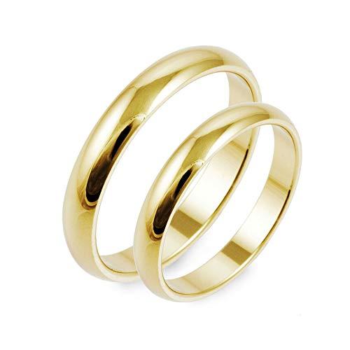 2 x Klassische Trauringe 585er Gelbgold Hochzeitsringe Verlobungsringe Eheringe Paarringe